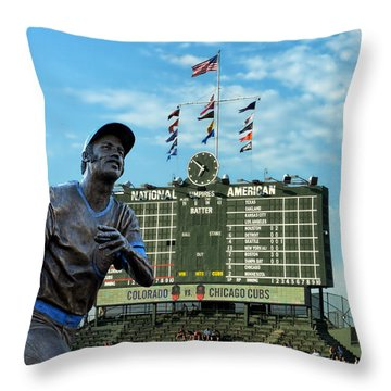 Billy Williams Chicago Cub Statue Throw Pillow by Thomas Woolworth