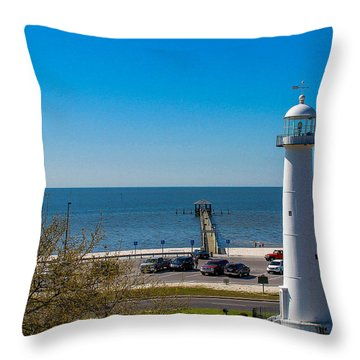 Biloxi Lighthouse And The Gulf Of Mexico Throw Pillow