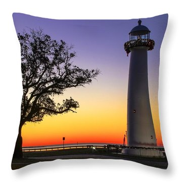 Biloxi Lighthouse Throw Pillow by Brian Wright