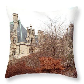 Biltmore Mansion Estate Autumn Fall Season  - Biltmore Estate Ashville North Carolina Autumn  Throw Pillow
