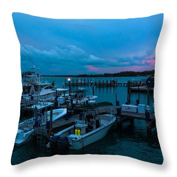 Bimini Big Game Club Docks After Sundown Throw Pillow