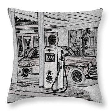 Bings Burger Station Cottonwood Arizona Throw Pillow by Janice Rae Pariza
