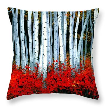 Throw Pillow featuring the painting Birch 24 X 48  by Michael Swanson