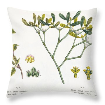 Birch And Mistletoe Throw Pillow