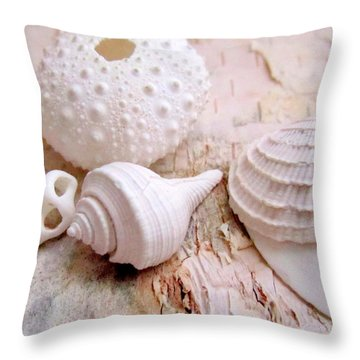 Birch And Shells Throw Pillow