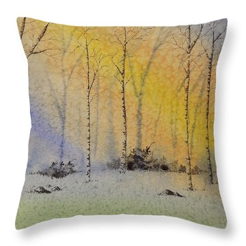 Birch In Blue Throw Pillow