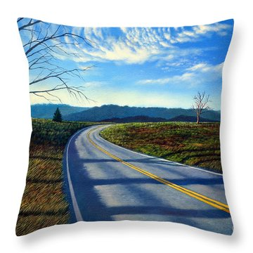 Birch Tree Along The Road Throw Pillow