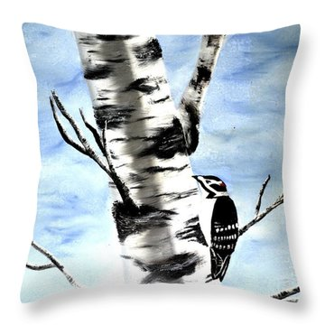 Birch Tree Throw Pillow