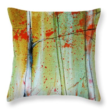 Birch Tree Forest Closeup Throw Pillow by Jani Freimann