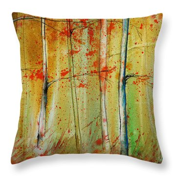 Birch Tree Forest I Throw Pillow