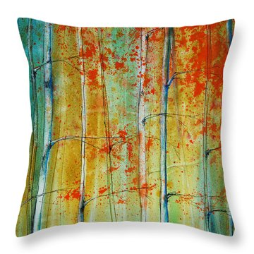 Throw Pillow featuring the painting Birch Tree Forest by Jani Freimann
