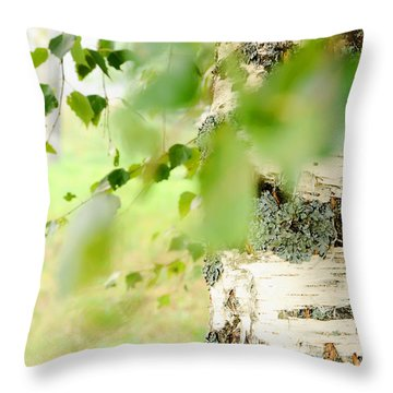 Birch Tree. The Soul Of Russian Nature Throw Pillow by Jenny Rainbow