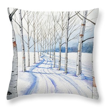 Birch Trees Along The Curvy Road Throw Pillow
