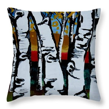 Throw Pillow featuring the painting Birch Trees by Amy Sorrell