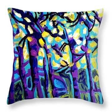 Birch Trees Blue Throw Pillow
