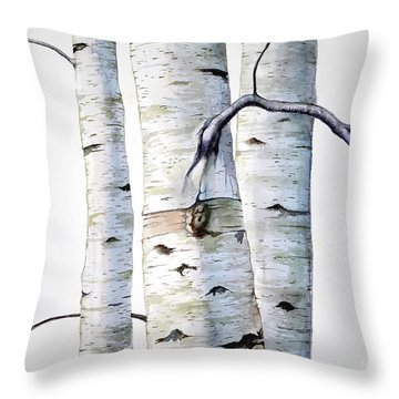 Birch Trees In Watercolor Throw Pillow