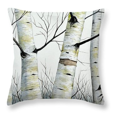 Birch Trees In The Forest In Watercolor Throw Pillow