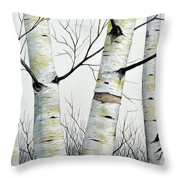 Birch Trees In The Forest By Christopher Shellhammer Throw Pillow by Christopher Shellhammer