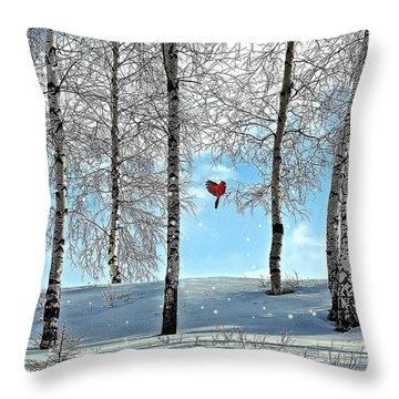 Birch Trees Throw Pillow by Liane Wright