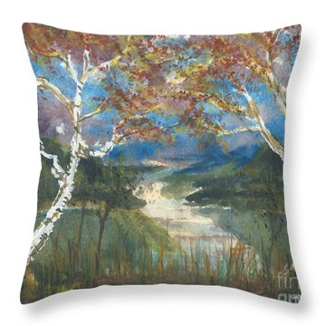 Birch Trees On The Ridge  Throw Pillow