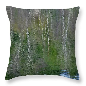 Birch Trees Reflected In Pond Throw Pillow