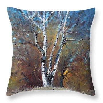 Birch Trees Throw Pillow by Ylli Haruni