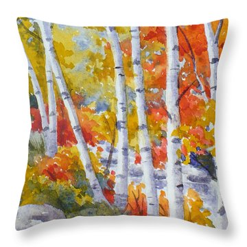 Birches Along The River Throw Pillow