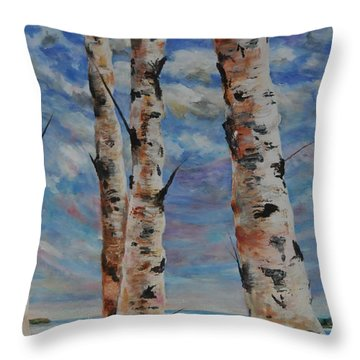 Birches By The Bay Throw Pillow by Heather Kertzer
