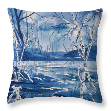 Birches In Blue Throw Pillow by Ellen Levinson