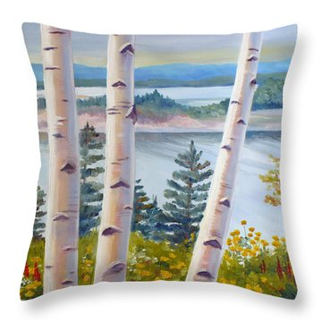 Birches In Nova Scotia Throw Pillow