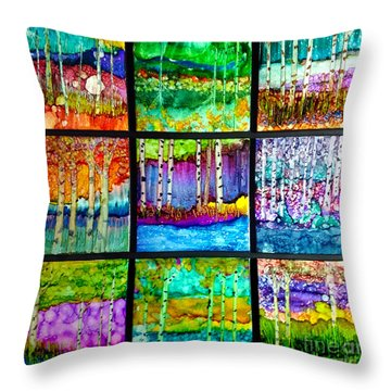 Birches Journey Throw Pillow