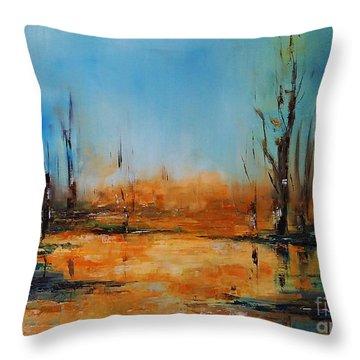 Birches Pond Throw Pillow