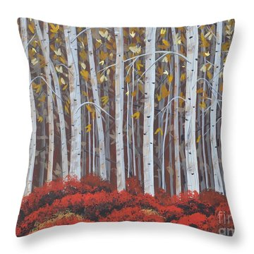 Birches Throw Pillow by Sally Rice