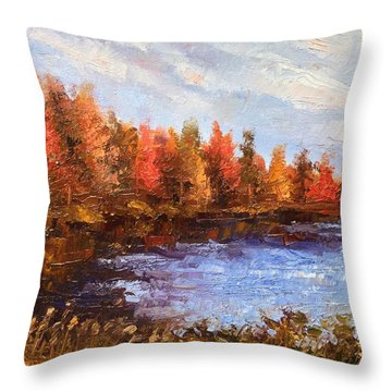 Birchwood Lake Throw Pillow by Jason Williamson