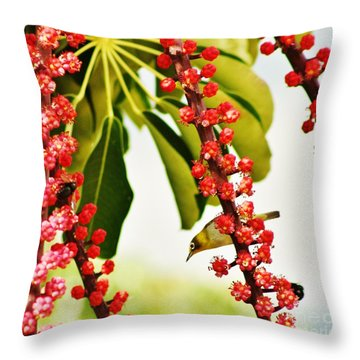 Bird And Bees Throw Pillow by Craig Wood