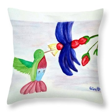 Bird And Flower Throw Pillow