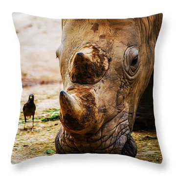 Bird And Rhino Throw Pillow