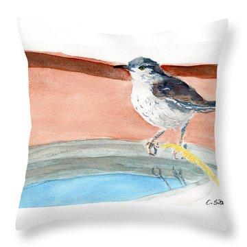 Bird Bath Throw Pillow