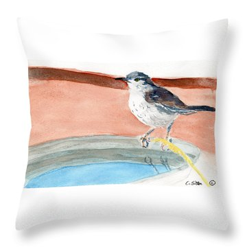 Throw Pillow featuring the painting Bird Bath by C Sitton