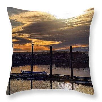 Bird - Boat - Bay Throw Pillow