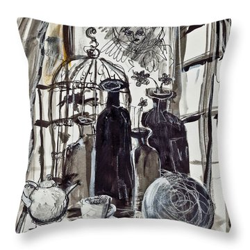 Bird Cage And Two Bottles Throw Pillow