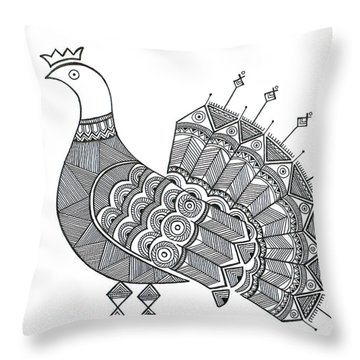 Bird Dove Throw Pillow by Neeti Goswami