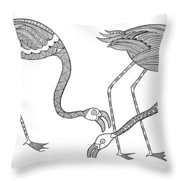 Bird Flamingos 2 Throw Pillow by Neeti Goswami
