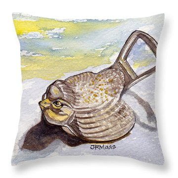 Throw Pillow featuring the painting Bird Flies On Fridays by Julie Maas