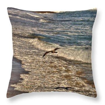 Throw Pillow featuring the pyrography Bird Gliding Over Seashore by Julis Simo