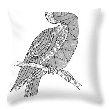 Bird Hornbill Throw Pillow by Neeti Goswami