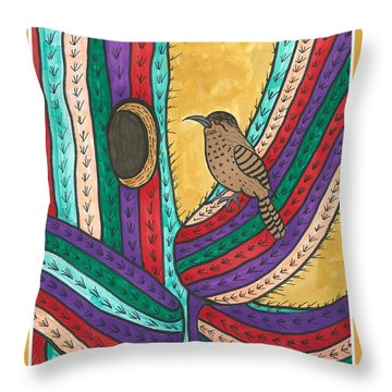 Throw Pillow featuring the painting Bird House by Susie Weber