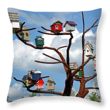Throw Pillow featuring the photograph Bird House Village by Sue Melvin