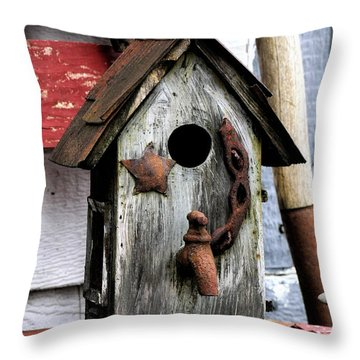 Bird House With Water Throw Pillow