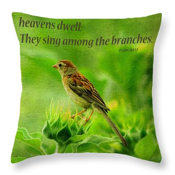 Bird In A Sunflower Field Scripture Throw Pillow